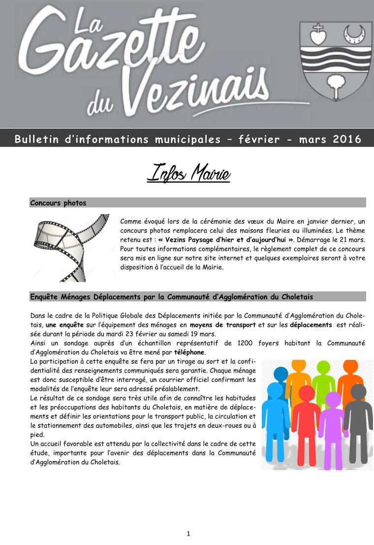 1ère page de La Gazette n° 1 - 2016