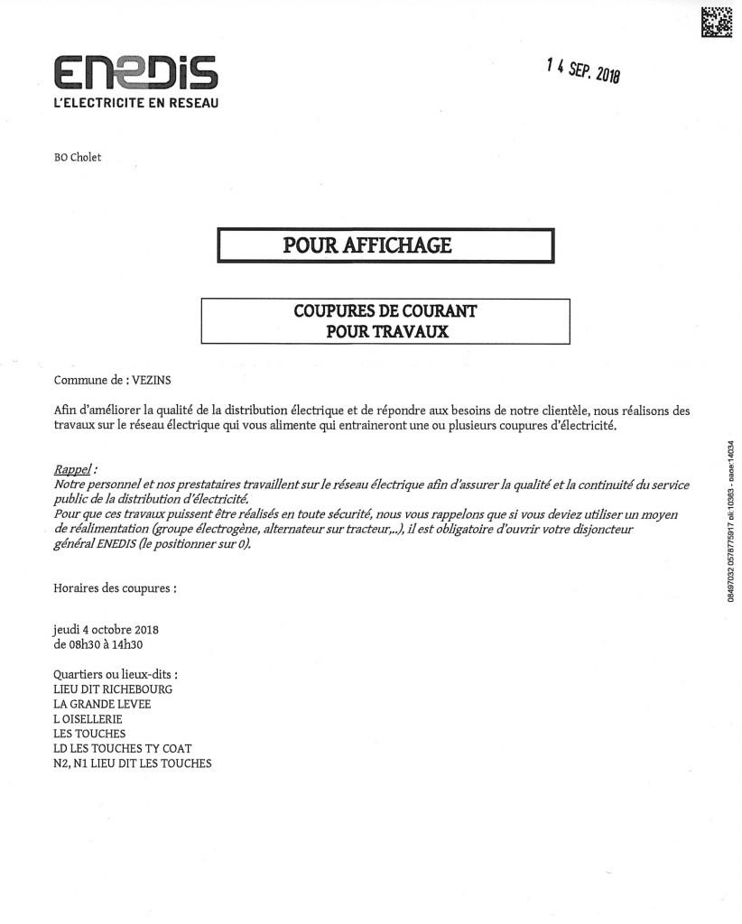 ENEDIS - Coupures de courant - Jeudi 4 octobre