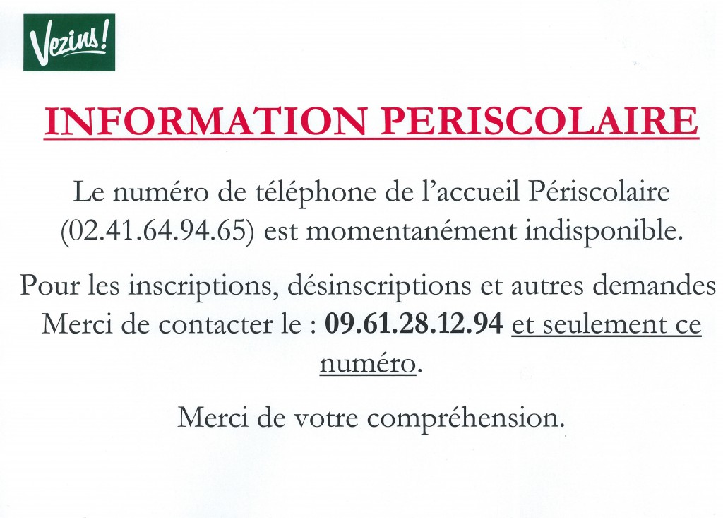 Périscolaire - Numéro de téléphone HS