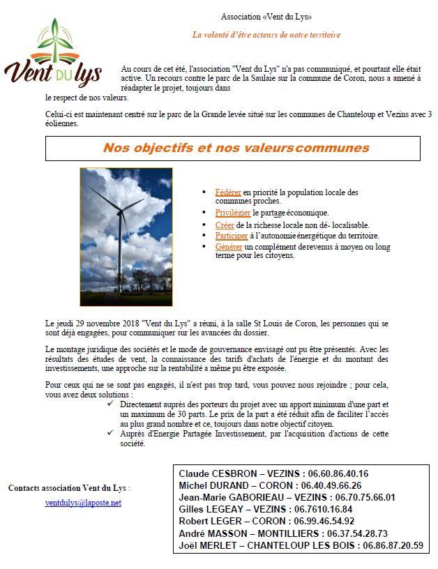 Vent du Lys participation projet