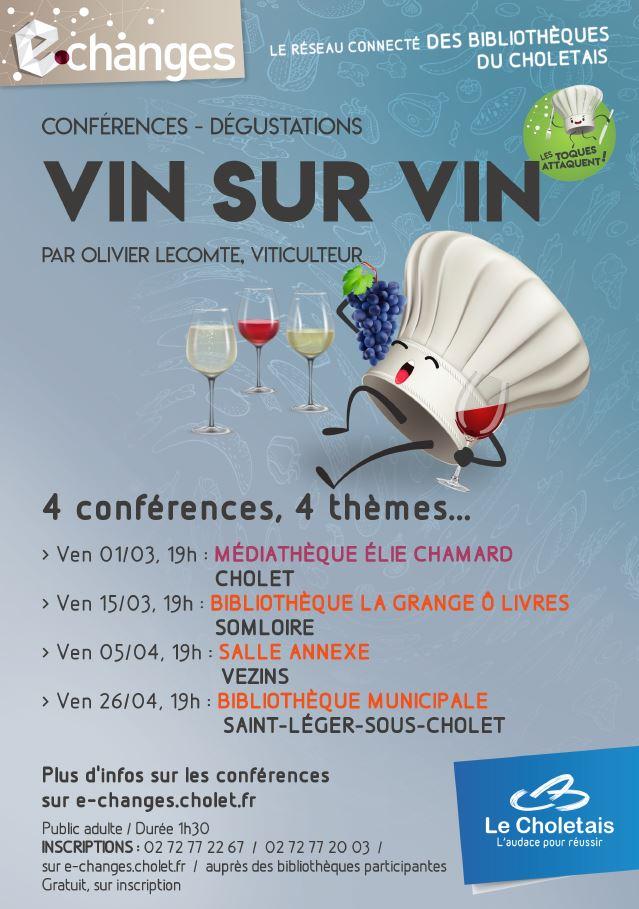Bibliothèque du Choletais - Conférances et dégustations de vin - Salle Annexe - Vendredi 5 avril
