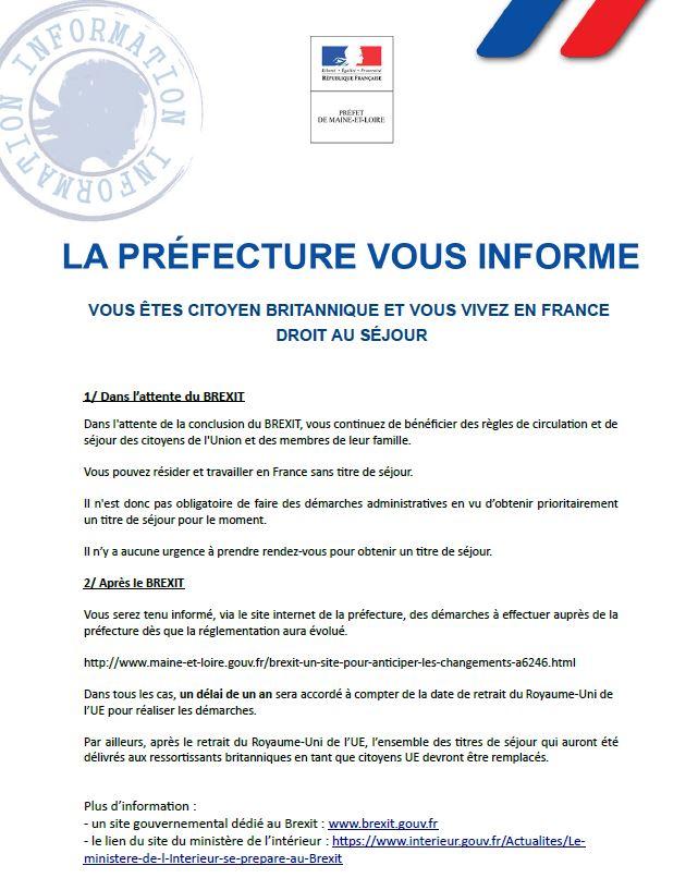 Préfecture information - Brexit