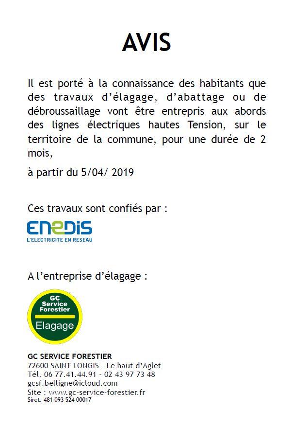 ENEDIS - Élagage aux abords des lignes électriques - Du 05.04.2019 au 05.06.2019