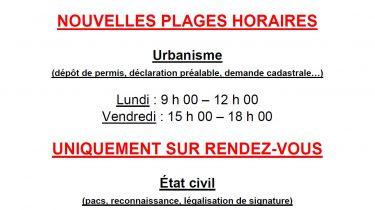 Nouvelles plages horaires pour l'Urbanisme et l'État civil
