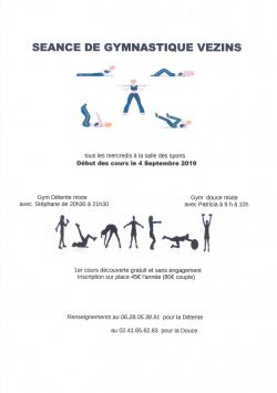 Inscriptions séances de gymnastique Vezins