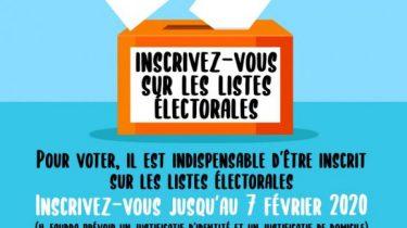 Élections municipales 2020 – Inscriptions sur les listes jusqu'au 7 février