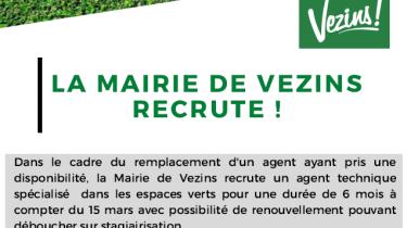 La Mairie de Vezins recrute !