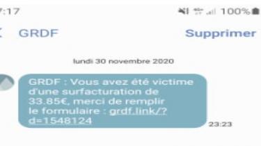 Campagne de SMS frauduleuse au nom de GRDF