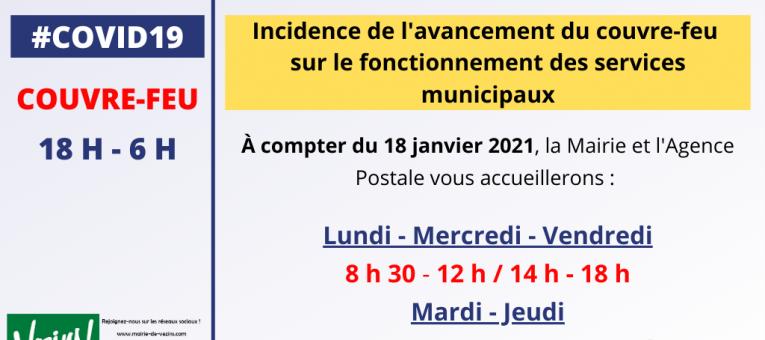 Mairie et Poste – Modification des horaires d'ouverture