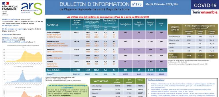 COVID19 – Bulletin d'information n°175